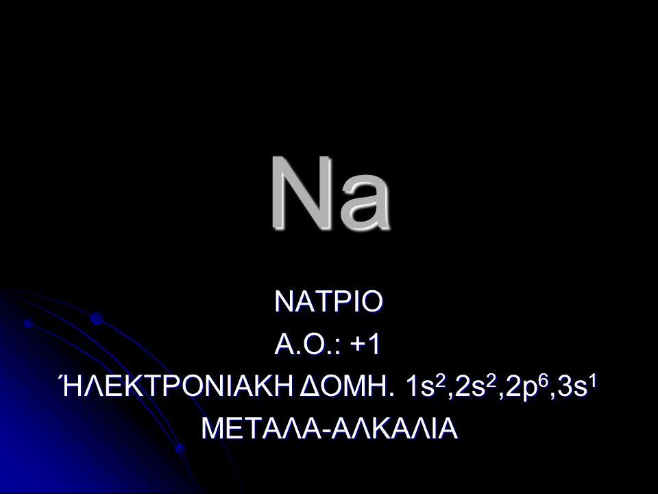 Na ΝΑΤΡΙΟ Α.Ο.: +1 ΉΛΕΚΤΡΟΝΙΑΚΗ ΔΟΜΗ. 1s 2,2s 2,2p 6,3s 1 ΜΕΤΑΛΑ-ΑΛΚΑΛΙΑ