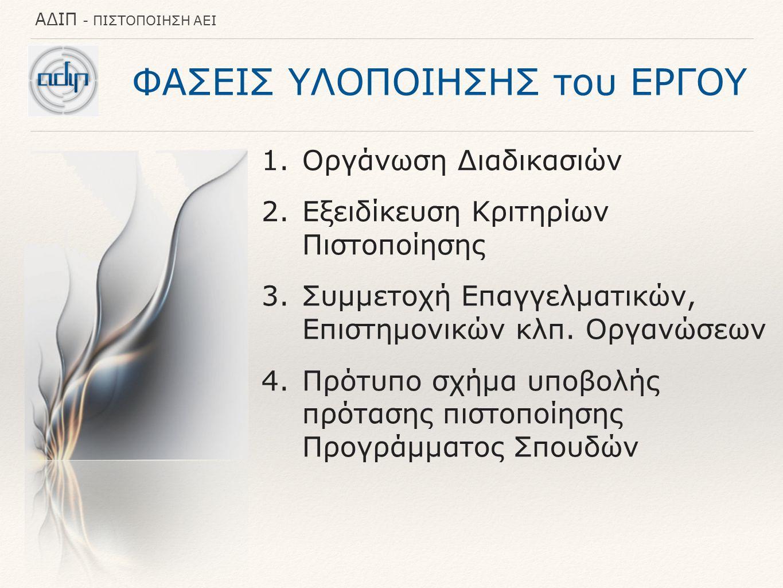 ΑΔΙΠ - ΠΙΣΤΟΠΟΙΗΣΗ ΑΕΙ ΦΑΣΕΙΣ ΥΛΟΠΟΙΗΣΗΣ του ΕΡΓΟΥ 1.Οργάνωση Διαδικασιών 2.Εξειδίκευση Κριτηρίων Πιστοποίησης 3.Συμμετοχή Επαγγελματικών, Επιστημονικών κλπ.