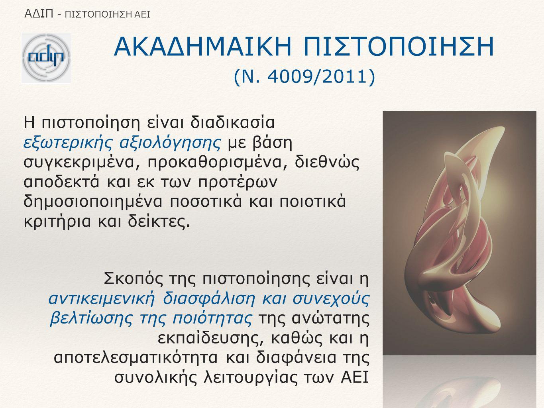 ΑΔΙΠ - ΠΙΣΤΟΠΟΙΗΣΗ ΑΕΙ ΑΚΑΔΗΜΑΙΚΗ ΠΙΣΤΟΠΟΙΗΣΗ (Ν. 4009/2011) Σκοπός της πιστοποίησης είναι η αντικειμενική διασφάλιση και συνεχούς βελτίωσης της ποιότ