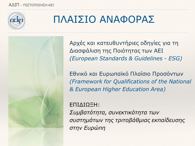 ΑΔΙΠ - ΠΙΣΤΟΠΟΙΗΣΗ ΑΕΙ ΠΛΑΙΣΙΟ ΑΝΑΦΟΡΑΣ Αρχές και κατευθυντήριες οδηγίες για τη Διασφάλιση της Ποιότητας των ΑΕΙ (European Standards & Guidelines - ESG) Εθνικό και Ευρωπαϊκό Πλαίσιο Προσόντων (Framework for Qualifications of the National & European Higher Education Area) ΕΠΙΔΙΩΞΗ: Συμβατότητα, συνεκτικότητα των συστημάτων της τριτοβάθμιας εκπαίδευσης στην Ευρώπη