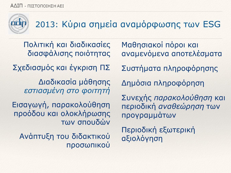 ΑΔΙΠ - ΠΙΣΤΟΠΟΙΗΣΗ ΑΕΙ 2013: Κύρια σημεία αναμόρφωσης των ESG Πολιτική και διαδικασίες διασφάλισης ποιότητας Σχεδιασμός και έγκριση ΠΣ Διαδικασία μάθησης εστιασμένη στο φοιτητή Εισαγωγή, παρακολούθηση προόδου και ολοκλήρωσης των σπουδών Ανάπτυξη του διδακτικού προσωπικού Μαθησιακοί πόροι και αναμενόμενα αποτελέσματα Συστήματα πληροφόρησης Δημόσια πληροφόρηση Συνεχής παρακολούθηση και περιοδική αναθεώρηση των προγραμμάτων Περιοδική εξωτερική αξιολόγηση