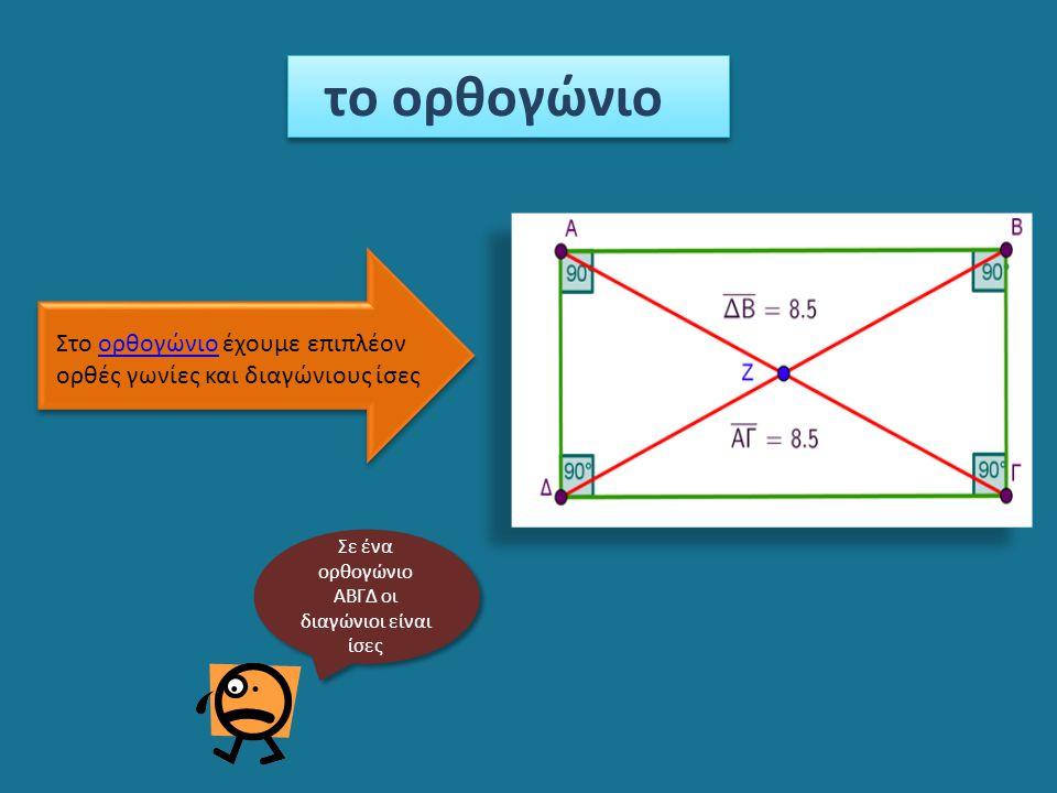 το ορθογώνιο Στο ορθογώνιο έχουμε επιπλέονορθογώνιο ορθές γωνίες και διαγώνιους ίσες Σε ένα ορθογώνιο ΑΒΓΔ οι διαγώνιοι είναι ίσες