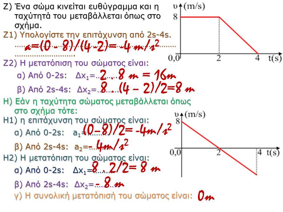 H) Εάν η ταχύτητα σώματος μεταβάλλεται όπως στο σχήμα τότε: H1) η επιτάχυνση του σώματος είναι: α) Από 0-2s: a 1 =………. β) Από 2s-4s: a 2 =……….. H2) Η