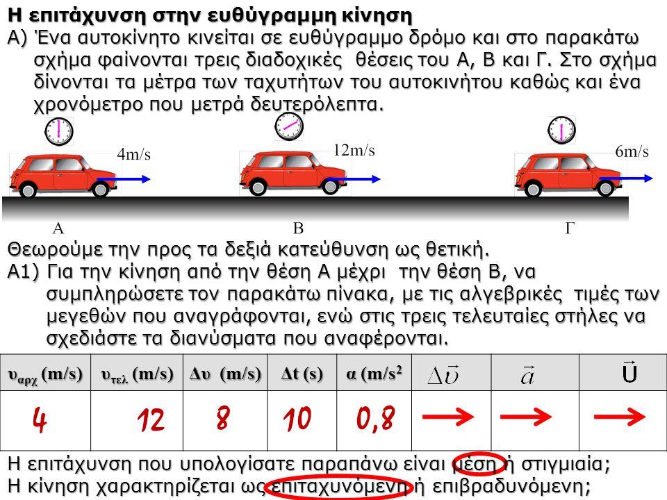 Η επιτάχυνση στην ευθύγραμμη κίνηση Α) Ένα αυτοκίνητο κινείται σε ευθύγραμμο δρόμο και στο παρακάτω σχήμα φαίνονται τρεις διαδοχικές θέσεις του Α, Β κ