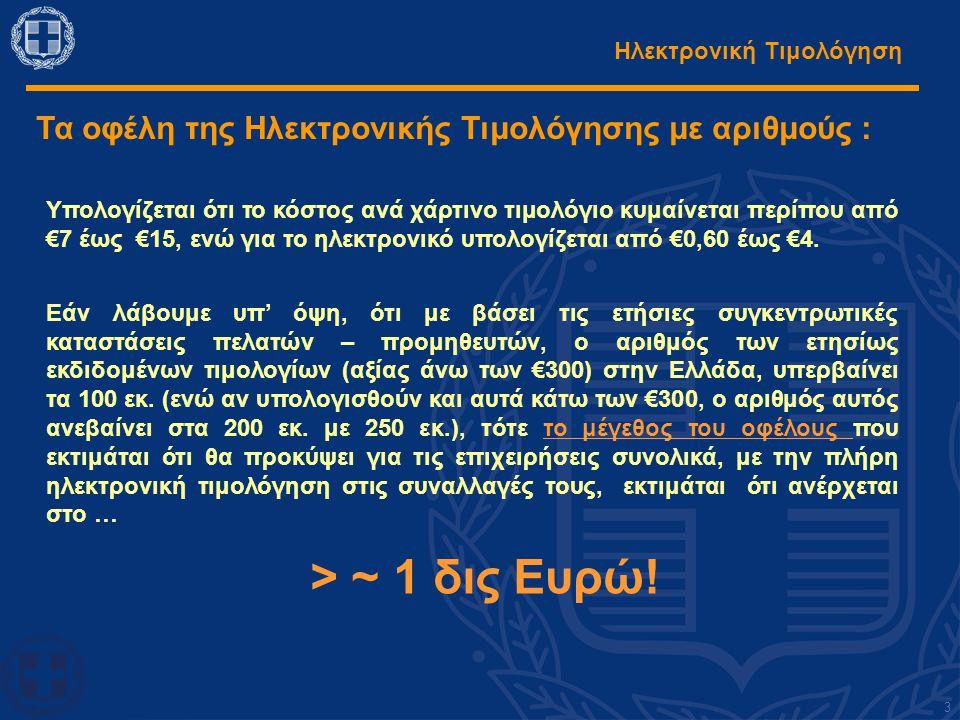 Ηλεκτρονική Τιμολόγηση Τα οφέλη της Ηλεκτρονικής Τιμολόγησης με αριθμούς : Υπολογίζεται ότι το κόστος ανά χάρτινο τιμολόγιο κυμαίνεται περίπου από €7 έως €15, ενώ για το ηλεκτρονικό υπολογίζεται από €0,60 έως €4.