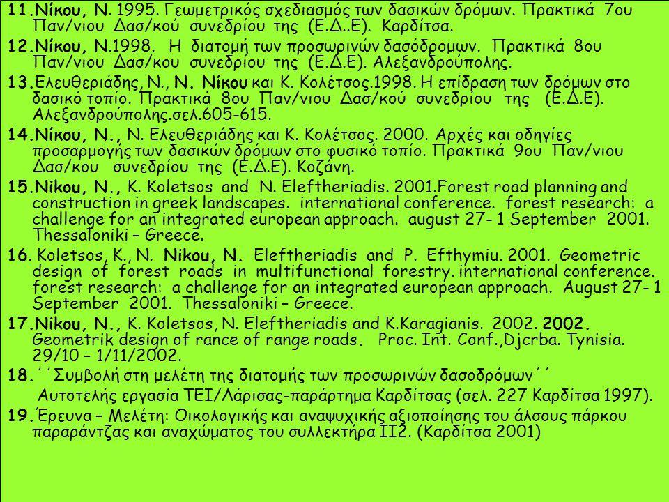 11.Νίκου, Ν. 1995. Γεωμετρικός σχεδιασμός των δασικών δρόμων. Πρακτικά 7ου Παν/νιου Δασ/κού συνεδρίου της (Ε.Δ..Ε). Καρδίτσα. 12.Νίκου, Ν.1998. Η διατ