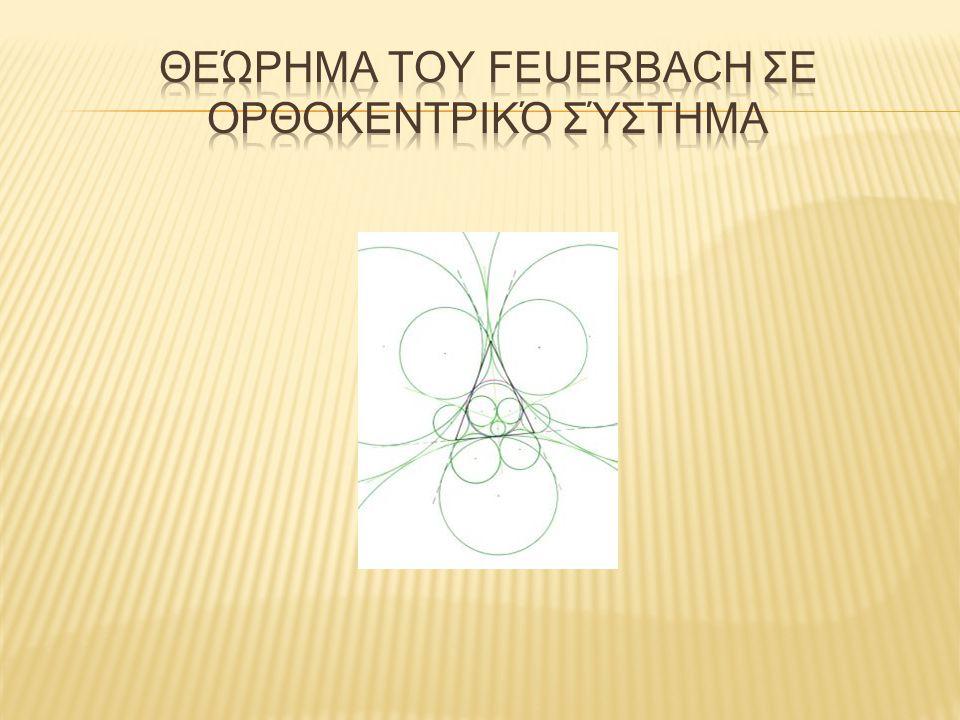  Ο κύκλος του Euler τριγώνου ΑΒΓ εφάπτεται στον εγγεγραμμένο και τους παρεγγεγραμμένους κύκλους τριγώνου.