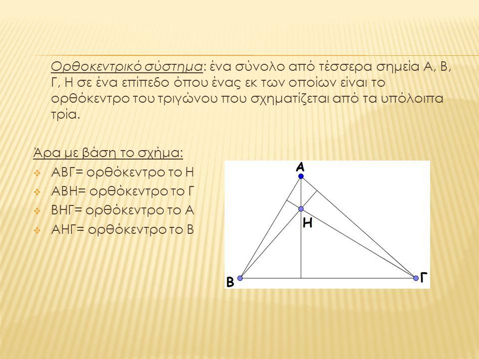  Ένα ορθοκεντρικό σύστημα είναι ένα σύνολο από 4 σημεία Α,Β,Γ,Η σε ένα επίπεδο, όπου ένα εκ των οποίων είναι το ορθόκεντρο του τριγώνου που σχηματίζεται από τα υπόλοιπα 3.