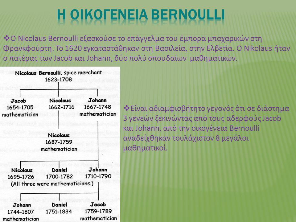  O Νicolaus Bernoulli εξασκούσε το επάγγελμα του έμπορα μπαχαρικών στη Φρανκφούρτη.