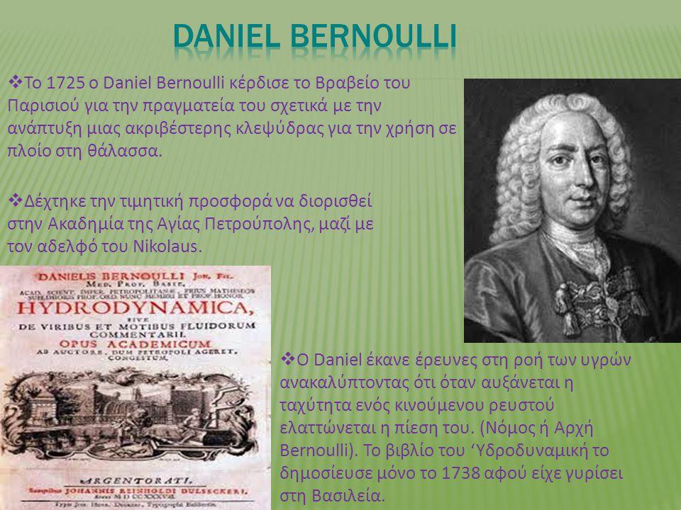  Το 1725 ο Daniel Bernoulli κέρδισε το Βραβείο του Παρισιού για την πραγματεία του σχετικά με την ανάπτυξη μιας ακριβέστερης κλεψύδρας για την χρήση σε πλοίο στη θάλασσα.