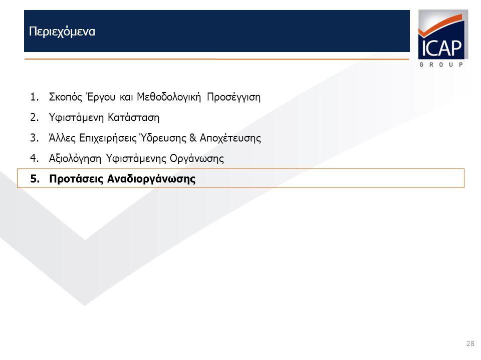 28 Περιεχόμενα 1.Σκοπός Έργου και Μεθοδολογική Προσέγγιση 2.Υφιστάμενη Κατάσταση 3.Άλλες Επιχειρήσεις Ύδρευσης & Αποχέτευσης 4.Αξιολόγηση Υφιστάμενης
