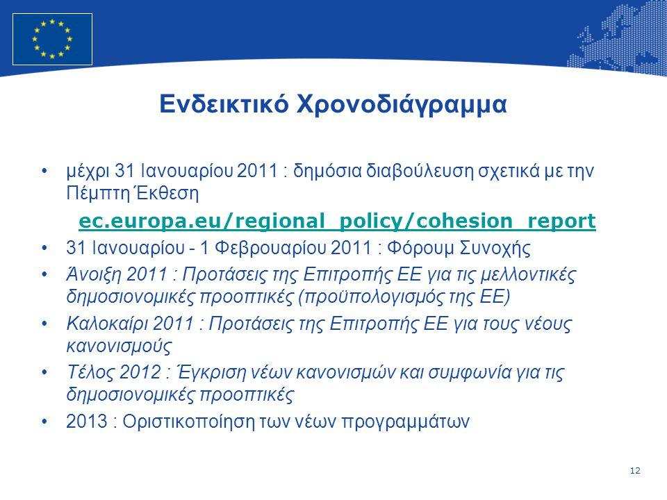 12 European Union Regional Policy – Employment, Social Affairs and Inclusion Ενδεικτικό Χρονοδιάγραμμα μέχρι 31 Ιανουαρίου 2011 : δημόσια διαβούλευση