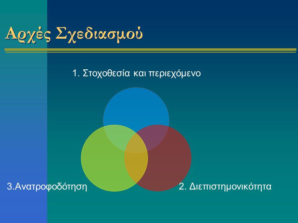 Αρχές Σχεδιασμού 1. Στοχοθεσία και περιεχόμενο 2. Διεπιστημονικότητα 3.Ανατροφοδότηση