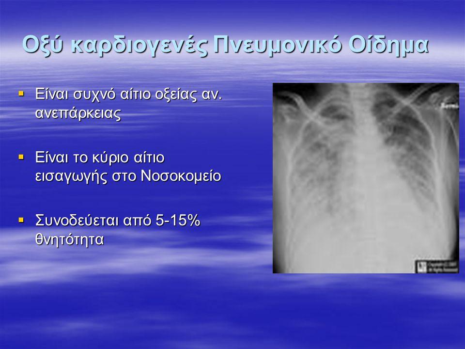 Οξύ καρδιογενές Πνευμονικό Οίδημα  Είναι συχνό αίτιο οξείας αν. ανεπάρκειας  Είναι το κύριο αίτιο εισαγωγής στο Νοσοκομείο  Συνοδεύεται από 5-15% θ