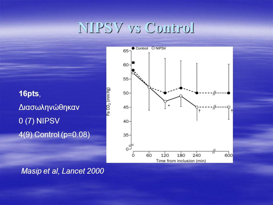 NIPSV vs Control 16pts, Διασωληνώθηκαν 0 (7) NIPSV 4(9) Control (p=0.08) Masip et al, Lancet 2000