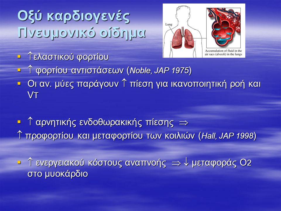 Οξύ καρδιογενές Πνευμονικό οίδημα   ελαστικού φορτίου   φορτίου αντιστάσεων ( Noble, JAP 1975 )  Οι αν. μύες παράγουν  πίεση για ικανοποιητική ρ