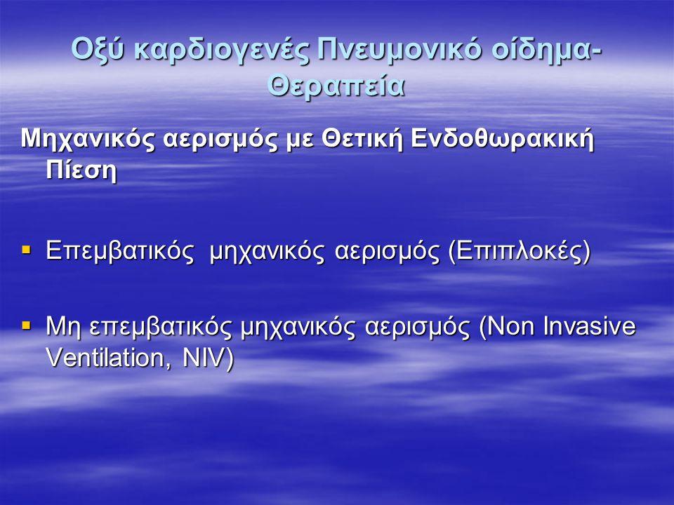 BiPAP vs Control 40 pts ED Διασωληνώθηκαν  5 (23.8%) BiPAP  7 (41.2%) Control Ns ΟΕΜ  4 (19%) BiPAP  5 (29.4%) Control NS Levitt, J Emer Med 2001