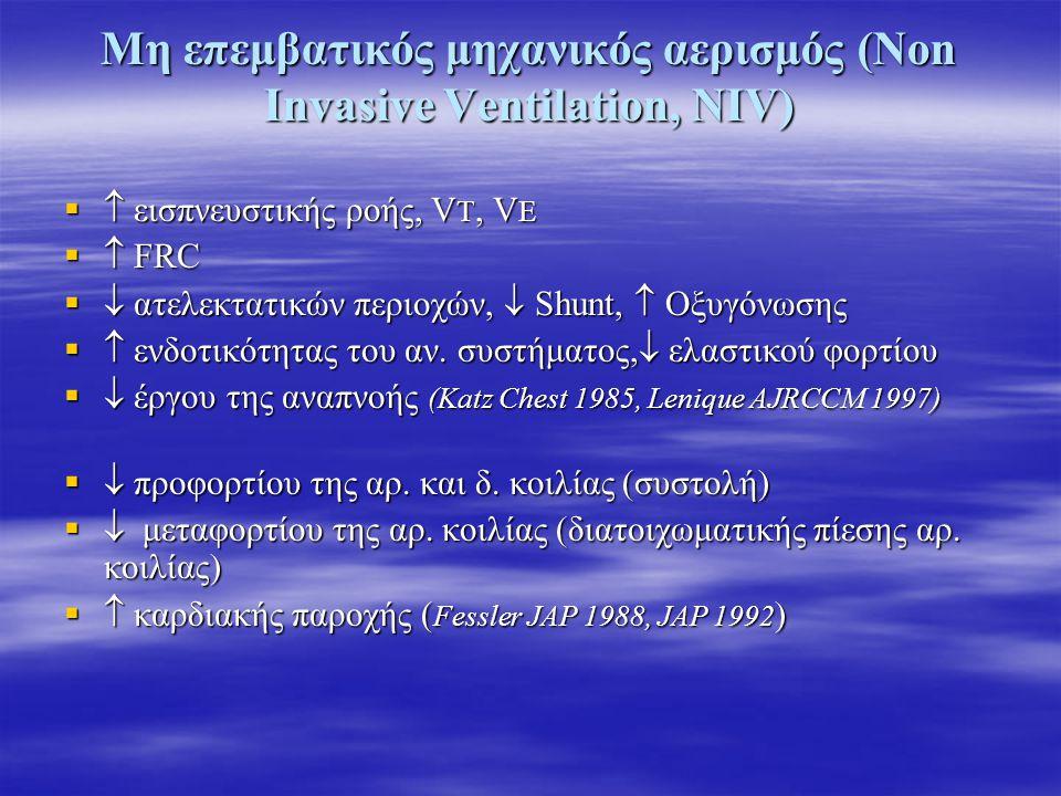 Μη επεμβατικός μηχανικός αερισμός (Non Invasive Ventilation, NIV)   εισπνευστικής ροής, V T, V E   FRC   ατελεκτατικών περιοχών,  Shunt,  Οξυγ