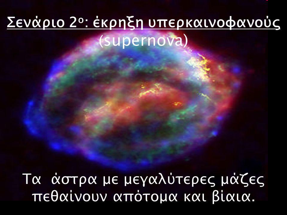 Σενάριο 2 ο : έκρηξη υπερκαινοφανούς ( supernova) Τα άστρα με μεγαλύτερες μάζες πεθαίνουν απότομα και βίαια.