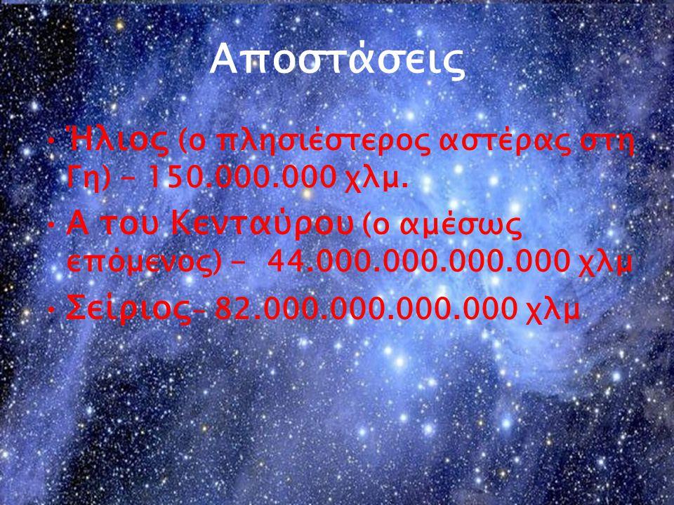 Αποστάσεις Ήλιος (ο πλησιέστερος αστέρας στη Γη) - 150.000.000 χλμ. Α του Κενταύρου (ο αμέσως επόμενος) - 44.000.000.000.000 χλμ Σείριος - 82.000.000.