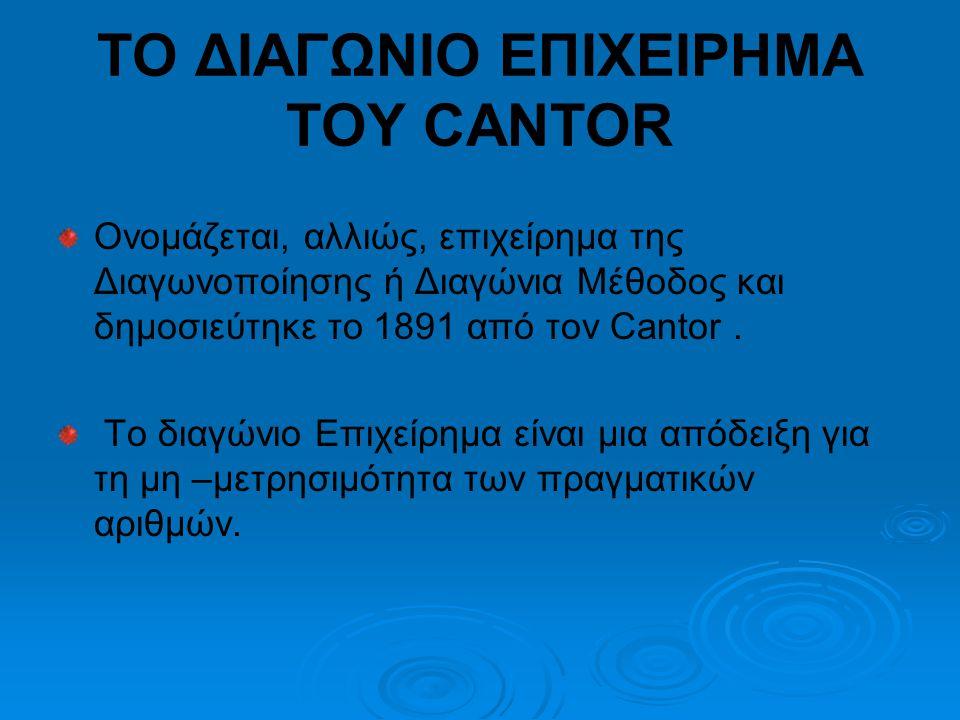 ΤΟ ΔΙΑΓΩΝΙΟ ΕΠΙΧΕΙΡΗΜΑ ΤΟΥ CANTOR Ονομάζεται, αλλιώς, επιχείρημα της Διαγωνοποίησης ή Διαγώνια Μέθοδος και δημοσιεύτηκε το 1891 από τον Cantor.