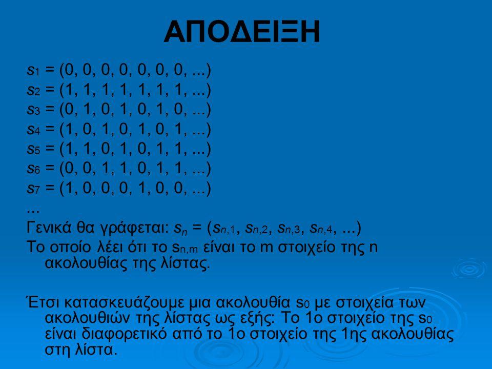 s 1 = (0, 0, 0, 0, 0, 0, 0,...) s 2 = (1, 1, 1, 1, 1, 1, 1,...) s 3 = (0, 1, 0, 1, 0, 1, 0,...) s 4 = (1, 0, 1, 0, 1, 0, 1,...) s 5 = (1, 1, 0, 1, 0, 1, 1,...) s 6 = (0, 0, 1, 1, 0, 1, 1,...) s 7 = (1, 0, 0, 0, 1, 0, 0,...)...