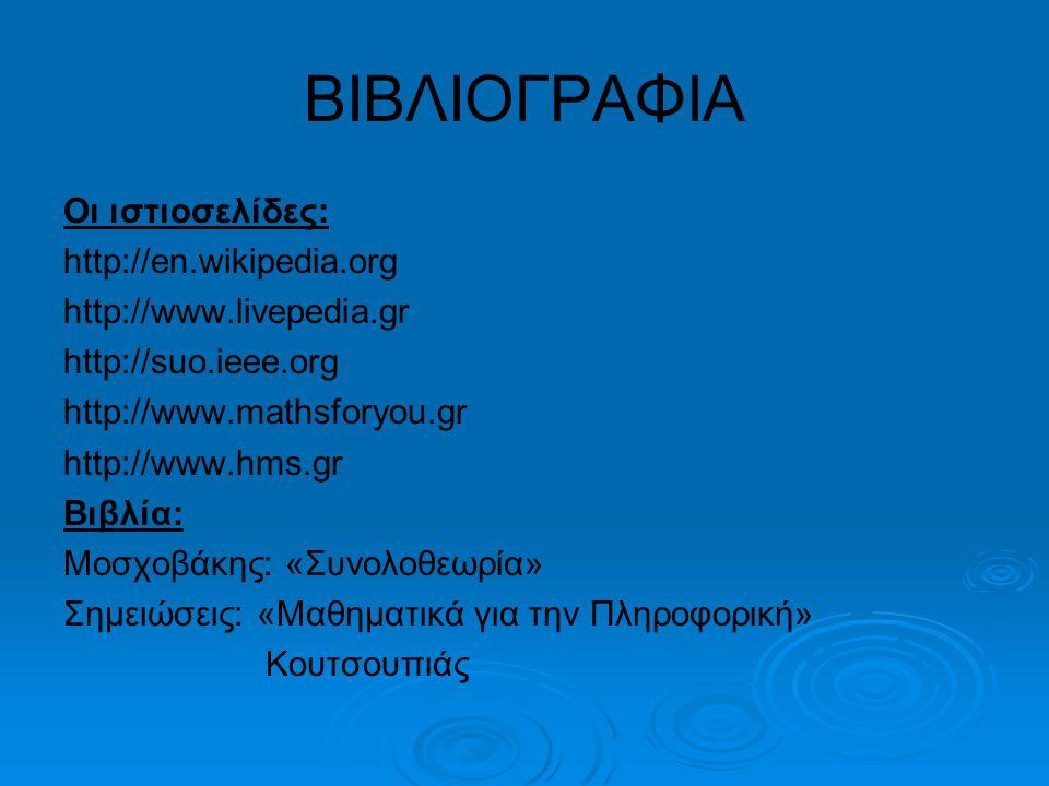 ΒΙΒΛΙΟΓΡΑΦΙΑ Οι ιστιοσελίδες: http://en.wikipedia.org http://www.livepedia.gr http://suo.ieee.org http://www.mathsforyou.gr http://www.hms.gr Βιβλία: Μοσχοβάκης: «Συνολοθεωρία» Σημειώσεις: «Μαθηματικά για την Πληροφορική» Κουτσουπιάς