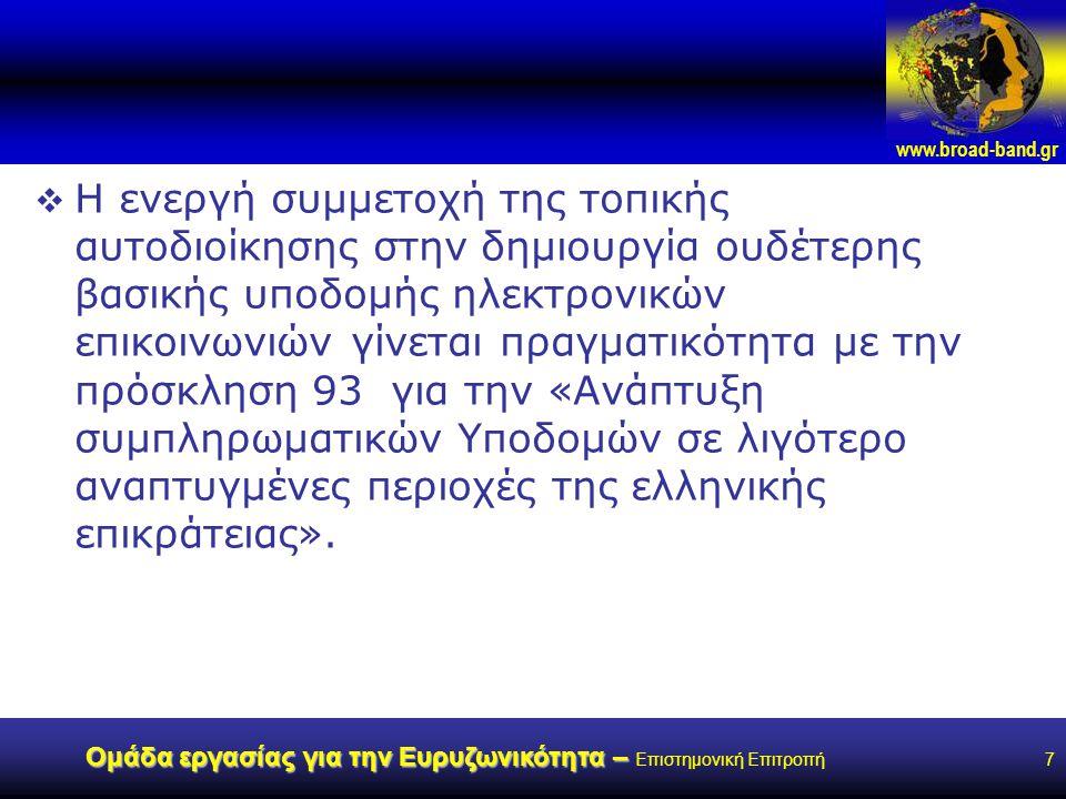 www.broad-band.gr Ομάδα εργασίας για την Ευρυζωνικότητα – Ομάδα εργασίας για την Ευρυζωνικότητα – Επιστημονική Επιτροπή7  Η ενεργή συμμετοχή της τοπικής αυτοδιοίκησης στην δημιουργία ουδέτερης βασικής υποδομής ηλεκτρονικών επικοινωνιών γίνεται πραγματικότητα με την πρόσκληση 93 για την «Ανάπτυξη συμπληρωματικών Υποδομών σε λιγότερο αναπτυγμένες περιοχές της ελληνικής επικράτειας».