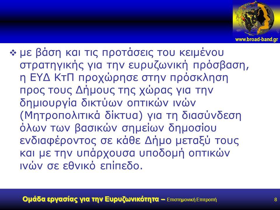 www.broad-band.gr Ομάδα εργασίας για την Ευρυζωνικότητα – Ομάδα εργασίας για την Ευρυζωνικότητα – Επιστημονική Επιτροπή8  με βάση και τις προτάσεις του κειμένου στρατηγικής για την ευρυζωνική πρόσβαση, η ΕΥΔ ΚτΠ προχώρησε στην πρόσκληση προς τους Δήμους της χώρας για την δημιουργία δικτύων οπτικών ινών (Μητροπολιτικά δίκτυα) για τη διασύνδεση όλων των βασικών σημείων δημοσίου ενδιαφέροντος σε κάθε Δήμο μεταξύ τους και με την υπάρχουσα υποδομή οπτικών ινών σε εθνικό επίπεδο.