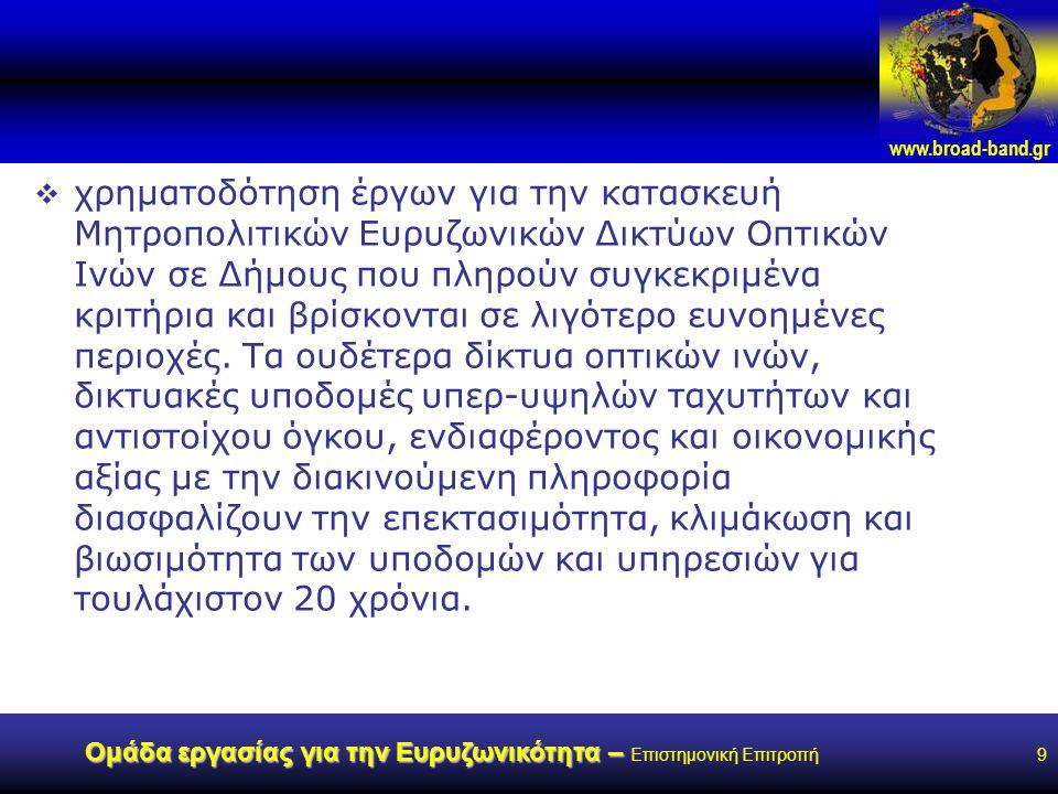 www.broad-band.gr Ομάδα εργασίας για την Ευρυζωνικότητα – Ομάδα εργασίας για την Ευρυζωνικότητα – Επιστημονική Επιτροπή9  χρηματοδότηση έργων για την κατασκευή Μητροπολιτικών Ευρυζωνικών Δικτύων Οπτικών Ινών σε Δήμους που πληρούν συγκεκριμένα κριτήρια και βρίσκονται σε λιγότερο ευνοημένες περιοχές.