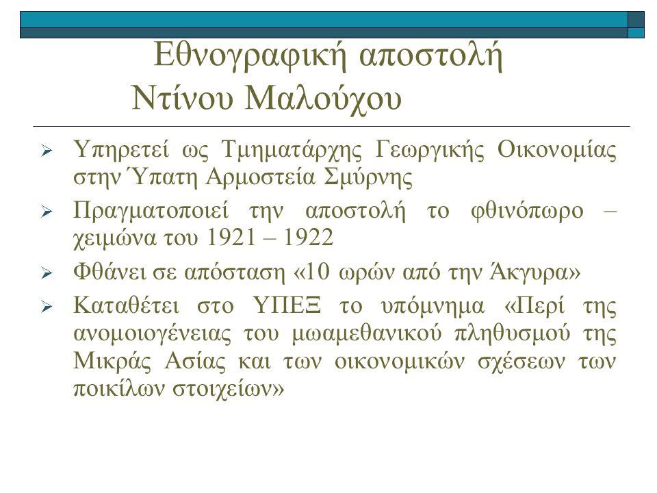 Εθνογραφική αποστολή Ντίνου Μαλούχου  Υπηρετεί ως Τμηματάρχης Γεωργικής Οικονομίας στην Ύπατη Αρμοστεία Σμύρνης  Πραγματοποιεί την αποστολή το φθινόπωρο – χειμώνα του 1921 – 1922  Φθάνει σε απόσταση «10 ωρών από την Άκγυρα»  Καταθέτει στο ΥΠΕΞ το υπόμνημα «Περί της ανομοιογένειας του μωαμεθανικού πληθυσμού της Μικράς Ασίας και των οικονομικών σχέσεων των ποικίλων στοιχείων»