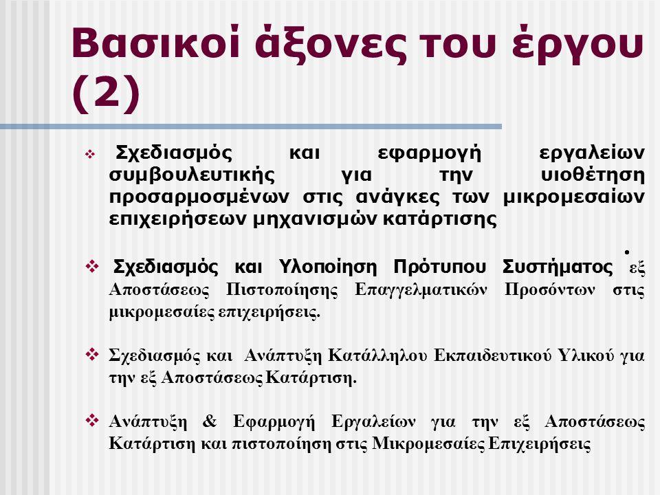 Βασικοί άξονες του έργου (2)  Σχεδιασμός και εφαρμογή εργαλείων συμβουλευτικής για την υιοθέτηση προσαρμοσμένων στις ανάγκες των μικρομεσαίων επιχειρήσεων μηχανισμών κατάρτισης  Σχεδιασμός και Υλοποίηση Πρότυπου Συστήματος εξ Αποστάσεως Πιστοποίησης Επαγγελματικών Προσόντων στις μικρομεσαίες επιχειρήσεις.