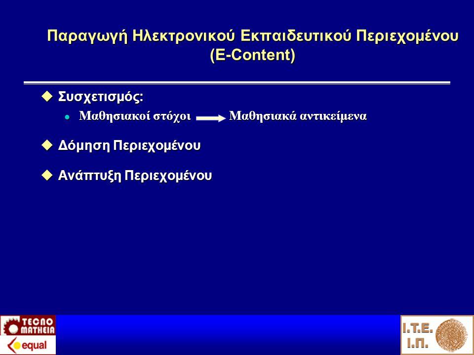 Παραγωγή Ηλεκτρονικού Εκπαιδευτικού Περιεχομένου (Ε-Content)  Συσχετισμός: l Μαθησιακοί στόχοι Μαθησιακά αντικείμενα  Δόμηση Περιεχομένου  Ανάπτυξη Περιεχομένου