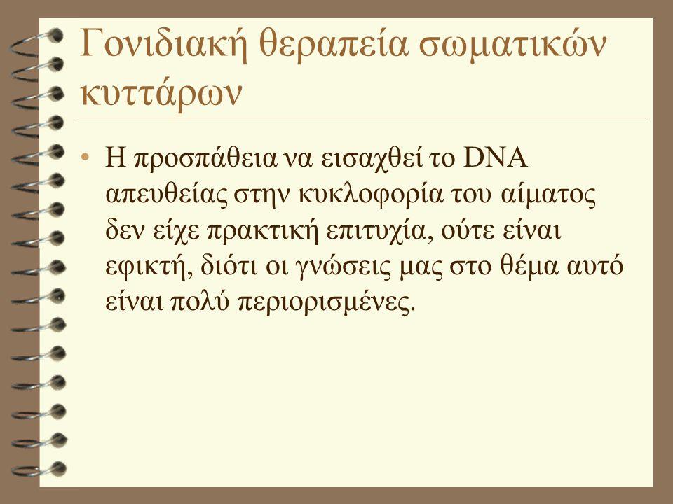 Γονιδιακή θεραπεία σωματικών κυττάρων Η προσπάθεια να εισαχθεί το DNA απευθείας στην κυκλοφορία του αίματος δεν είχε πρακτική επιτυχία, ούτε είναι εφι