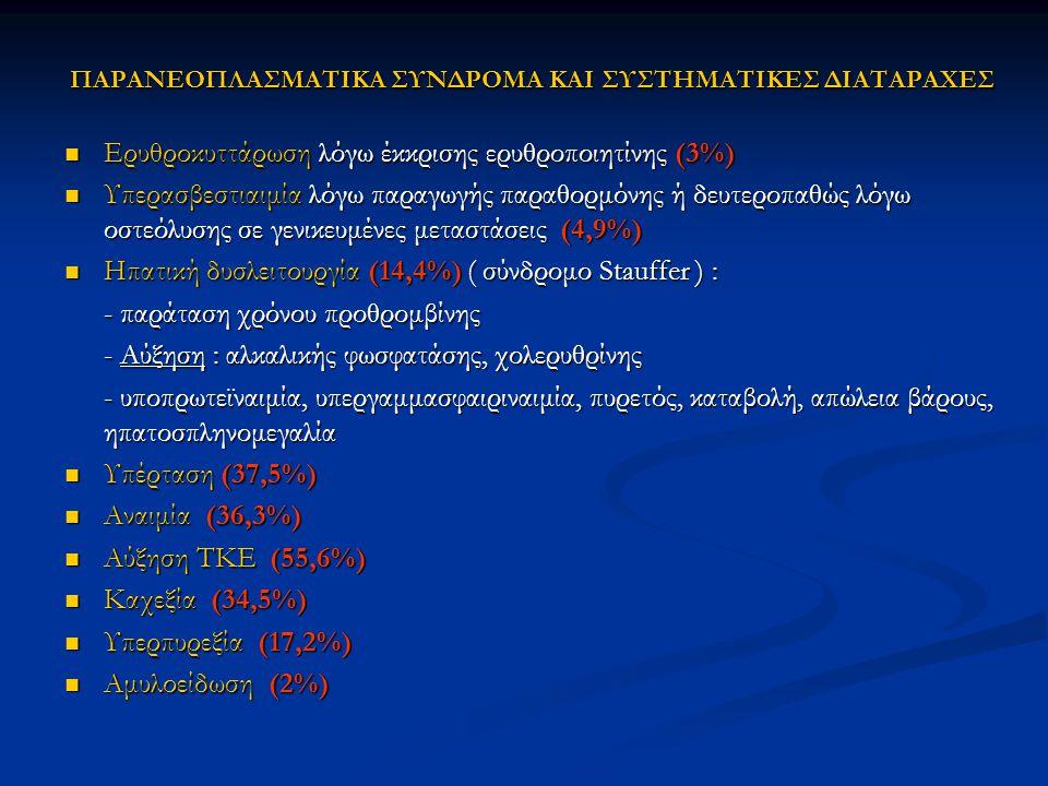 ΠΑΡΑΝΕΟΠΛΑΣΜΑΤΙΚΑ ΣΥΝΔΡΟΜΑ ΚΑΙ ΣΥΣΤΗΜΑΤΙΚΕΣ ΔΙΑΤΑΡΑΧΕΣ Ερυθροκυττάρωση λόγω έκκρισης ερυθροποιητίνης (3%) Ερυθροκυττάρωση λόγω έκκρισης ερυθροποιητίνη