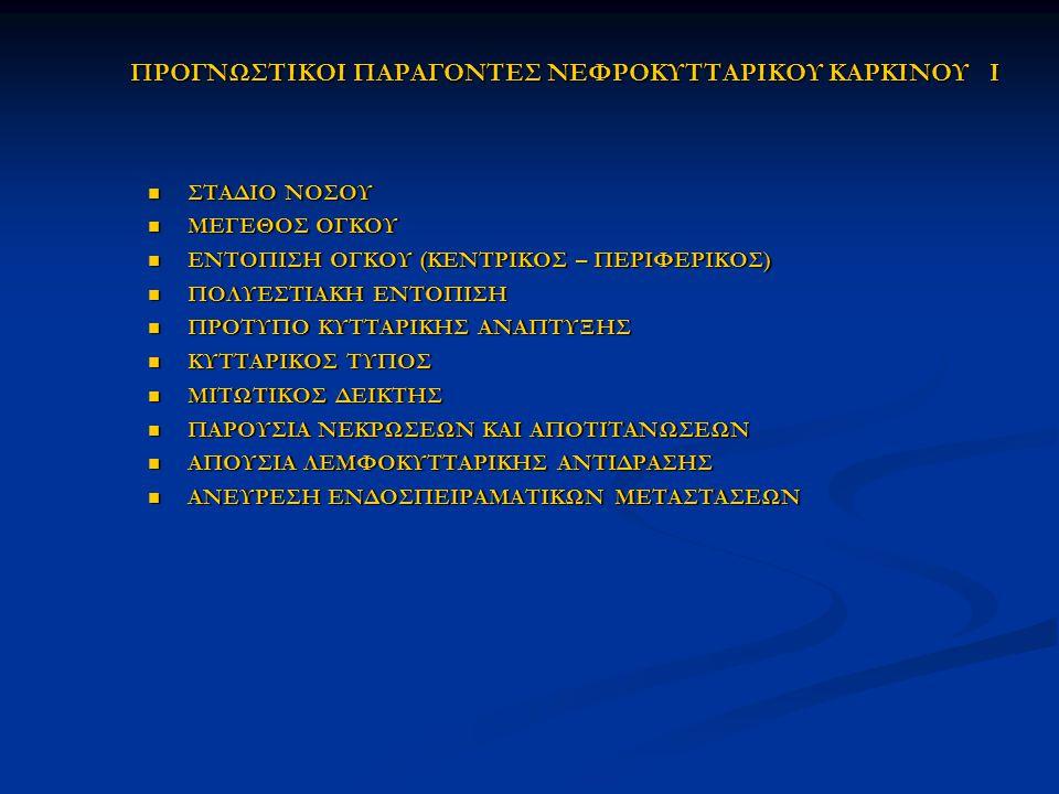 ΠΡΟΓΝΩΣΤΙΚΟΙ ΠΑΡΑΓΟΝΤΕΣ ΝΕΦΡΟΚΥΤΤΑΡΙΚΟΥ ΚΑΡΚΙΝΟΥ I ΣΤΑΔΙΟ ΝΟΣΟΥ ΣΤΑΔΙΟ ΝΟΣΟΥ ΜΕΓΕΘΟΣ ΟΓΚΟΥ ΜΕΓΕΘΟΣ ΟΓΚΟΥ ΕΝΤΟΠΙΣΗ ΟΓΚΟΥ (ΚΕΝΤΡΙΚΟΣ – ΠΕΡΙΦΕΡΙΚΟΣ) ΕΝΤΟ