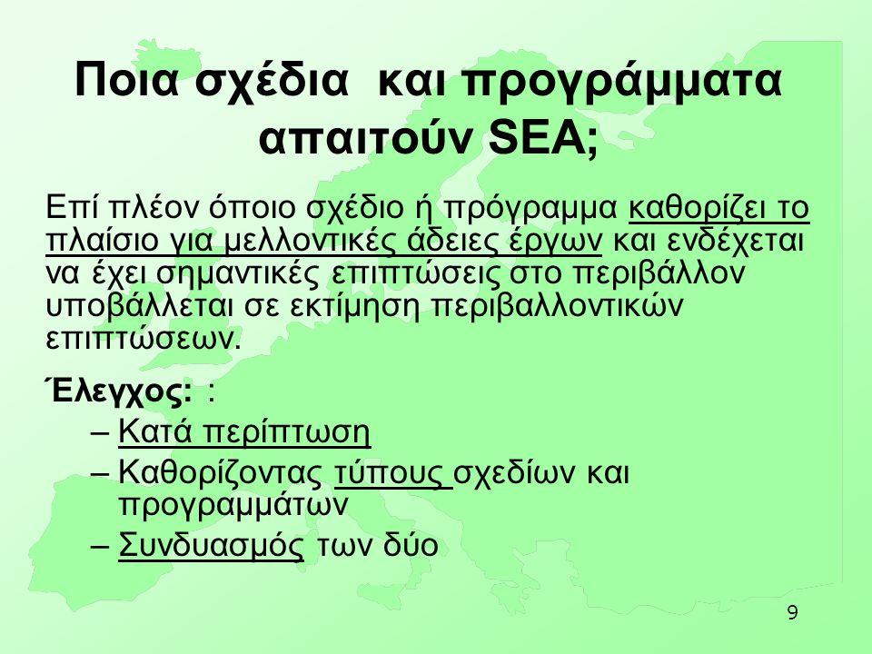 9 Ποια σχέδια και προγράμματα απαιτούν SEA; Επί πλέον όποιο σχέδιο ή πρόγραμμα καθορίζει το πλαίσιο για μελλοντικές άδειες έργων και ενδέχεται να έχει