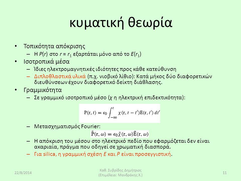 22/8/2014 Καθ. Συβρίδης Δημήτριος (Επιμέλεια: Μανδράκης Χ.) 11 κυματική θεωρία Τοπικότητα απόκρισης – H P(r) στο r = r 1 εξαρτάται μόνο από το E(r 1 )