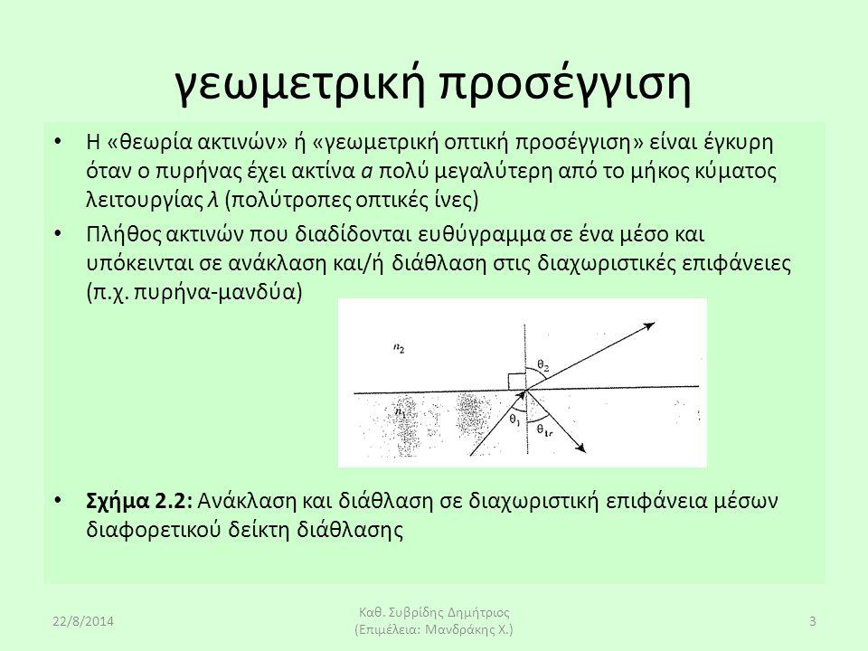 22/8/2014 Καθ. Συβρίδης Δημήτριος (Επιμέλεια: Μανδράκης Χ.) 3 Η «θεωρία ακτινών» ή «γεωμετρική οπτική προσέγγιση» είναι έγκυρη όταν ο πυρήνας έχει ακτ