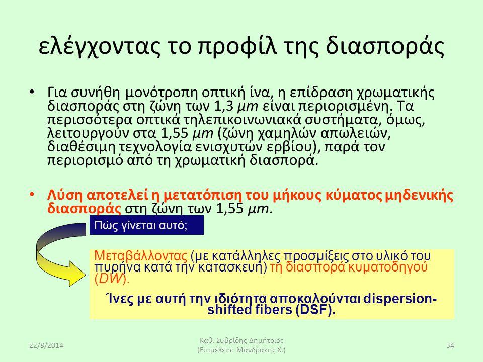 22/8/2014 Καθ. Συβρίδης Δημήτριος (Επιμέλεια: Μανδράκης Χ.) 34 Για συνήθη μονότροπη οπτική ίνα, η επίδραση χρωματικής διασποράς στη ζώνη των 1,3 μm εί