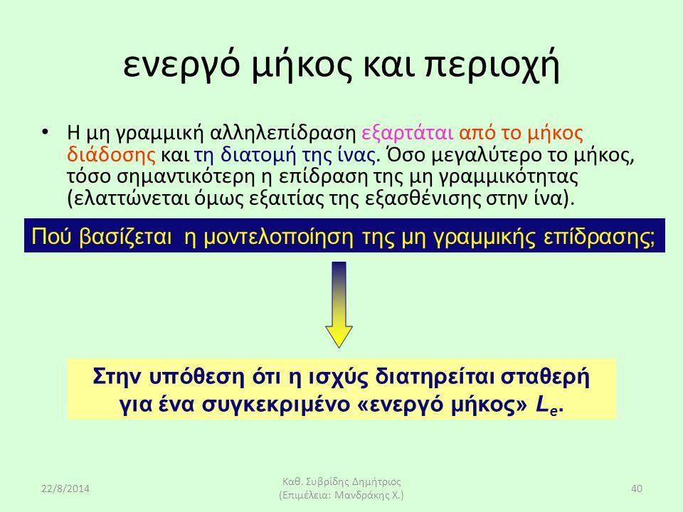 22/8/2014 Καθ. Συβρίδης Δημήτριος (Επιμέλεια: Μανδράκης Χ.) 40 Η μη γραμμική αλληλεπίδραση εξαρτάται από το μήκος διάδοσης και τη διατομή της ίνας. Όσ