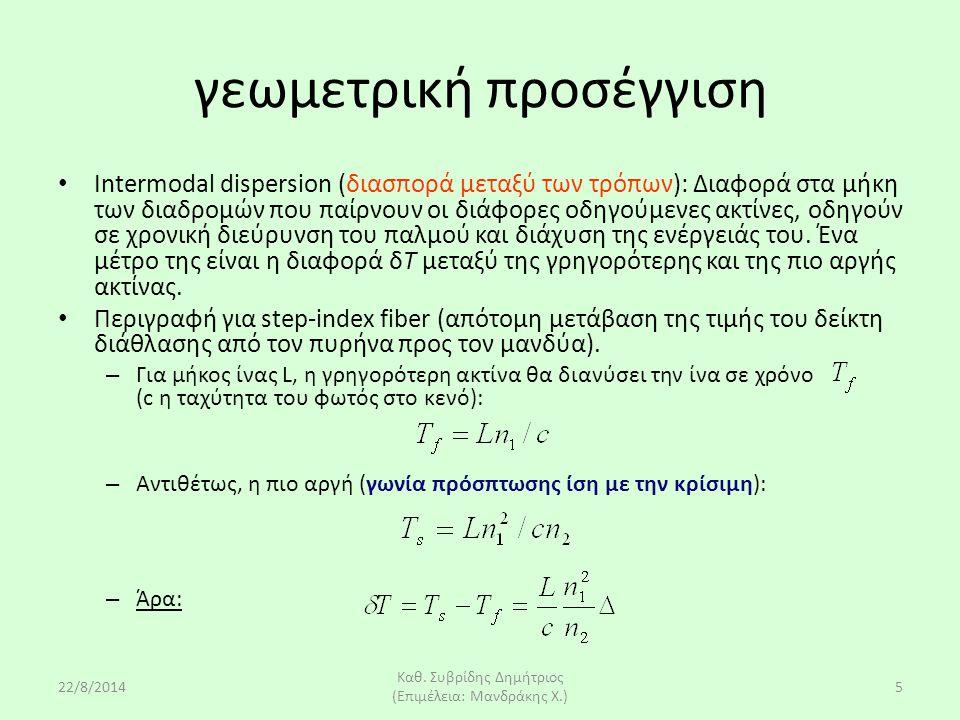 22/8/2014 Καθ. Συβρίδης Δημήτριος (Επιμέλεια: Μανδράκης Χ.) 5 γεωμετρική προσέγγιση Intermodal dispersion (διασπορά μεταξύ των τρόπων): Διαφορά στα μή