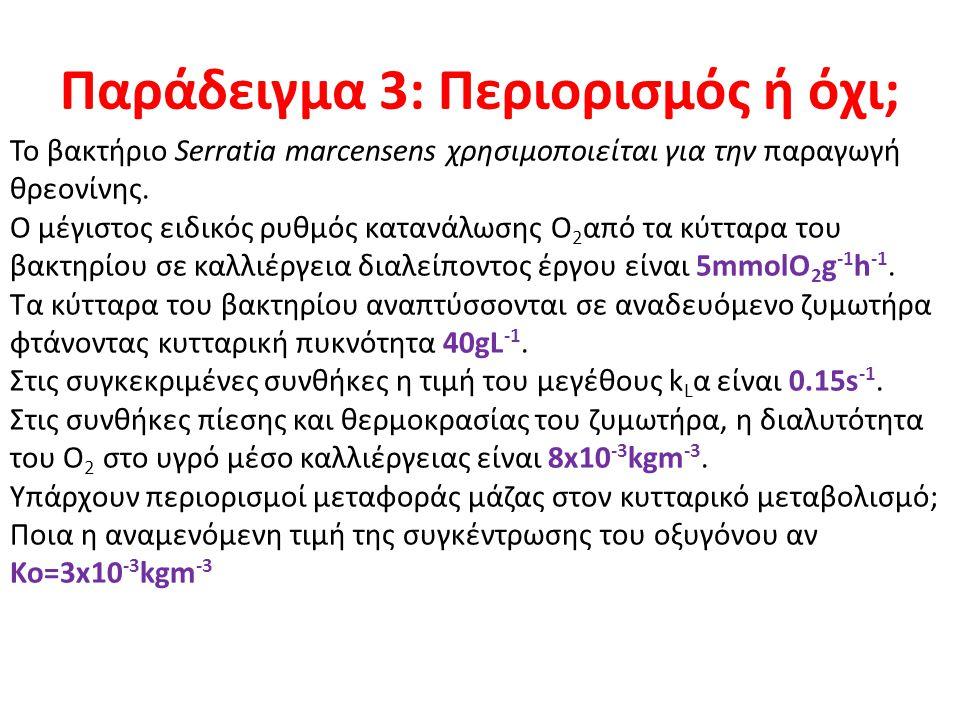 Παράδειγμα 3: Περιορισμός ή όχι; Το βακτήριο Serratia marcensens χρησιμοποιείται για την παραγωγή θρεονίνης. Ο μέγιστος ειδικός ρυθμός κατανάλωσης Ο 2