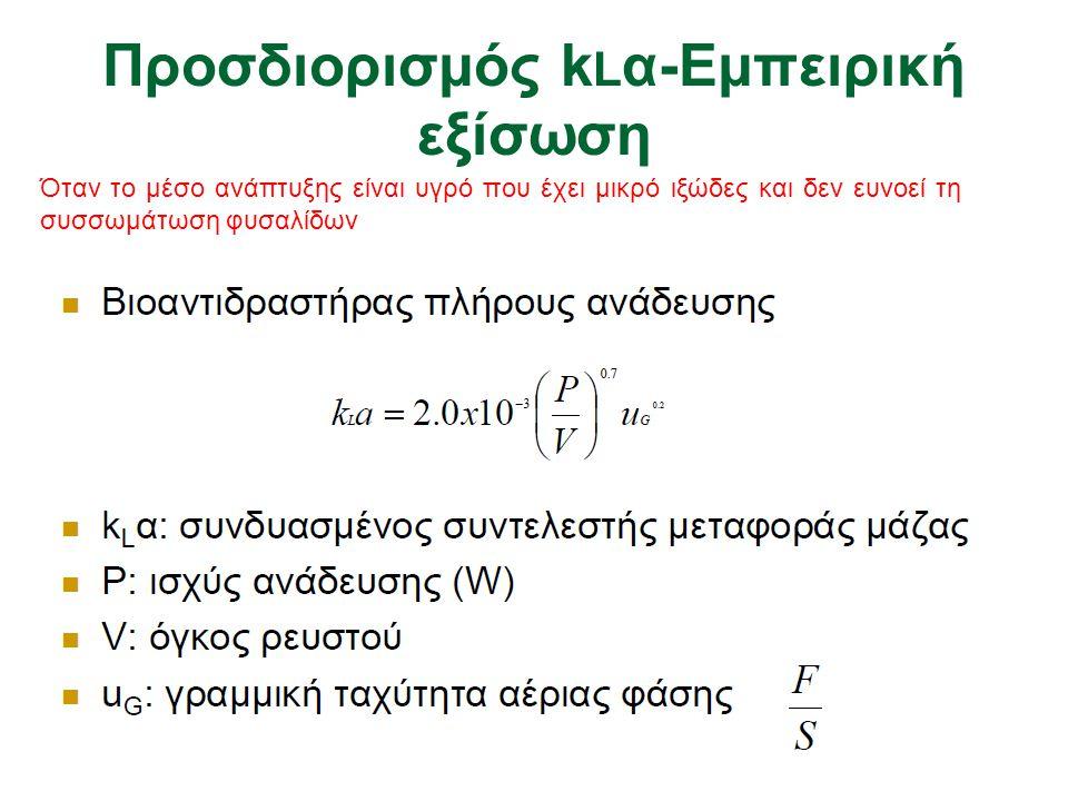 Προσδιορισμός k L α-Εμπειρική εξίσωση Όταν το μέσο ανάπτυξης είναι υγρό που έχει μικρό ιξώδες και δεν ευνοεί τη συσσωμάτωση φυσαλίδων