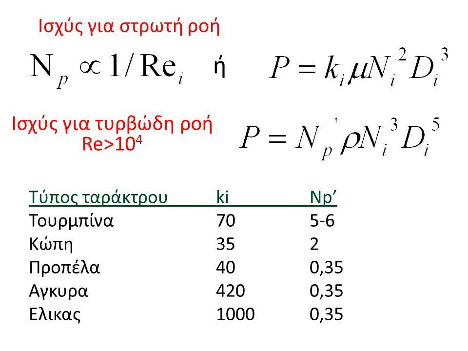 Ισχύς για στρωτή ροή Τύπος ταράκτρουkiNp' Τουρμπίνα705-6 Κώπη352 Προπέλα400,35 Αγκυρα4200,35 Ελικας10000,35 ή Ισχύς για τυρβώδη ροή Re>10 4