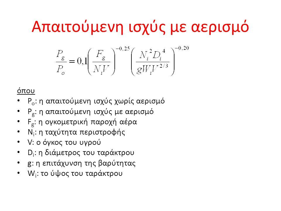 Απαιτούμενη ισχύς με αερισμό όπου P o : η απαιτούμενη ισχύς χωρίς αερισμό P g : η απαιτούμενη ισχύς με αερισμό F g : η ογκομετρική παροχή αέρα N i : η