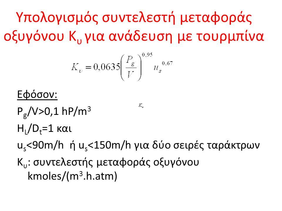 Υπολογισμός συντελεστή μεταφοράς οξυγόνου Κ υ για ανάδευση με τουρμπίνα Εφόσον: P g /V>0,1 hP/m 3 H L /D t =1 και u s <90m/h ή u s <150m/h για δύο σει