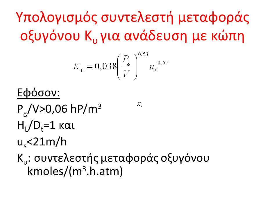 Υπολογισμός συντελεστή μεταφοράς οξυγόνου Κ υ για ανάδευση με κώπη Εφόσον: P g /V>0,06 hP/m 3 H L /D t =1 και u s <21m/h Κ υ : συντελεστής μεταφοράς ο