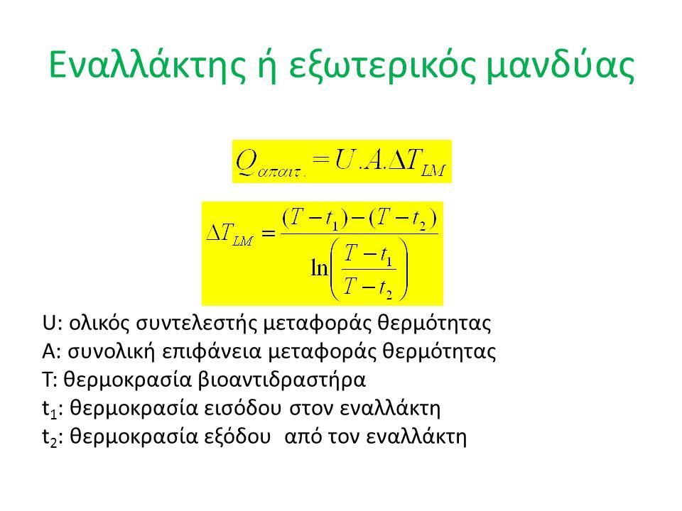 Εναλλάκτης ή εξωτερικός μανδύας U: ολικός συντελεστής μεταφοράς θερμότητας Α: συνολική επιφάνεια μεταφοράς θερμότητας Τ: θερμοκρασία βιοαντιδραστήρα t