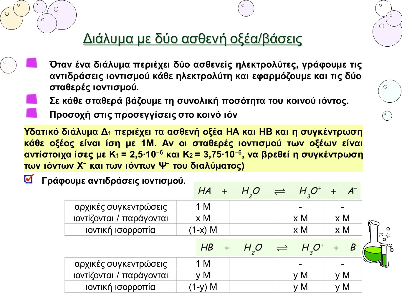 Υδατικό διάλυμα Δ 1 περιέχει τα ασθενή οξέα ΗΑ και ΗΒ και η συγκέντρωση κάθε οξέος είναι ίση με 1Μ. Αν οι σταθερές ιοντισμού των οξέων είναι αντίστοιχ